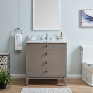 Link to The Gray Barn Livingston Modern Farmhouse Gray Stone 32-inch Vanity Sink Similar Items in Sinks