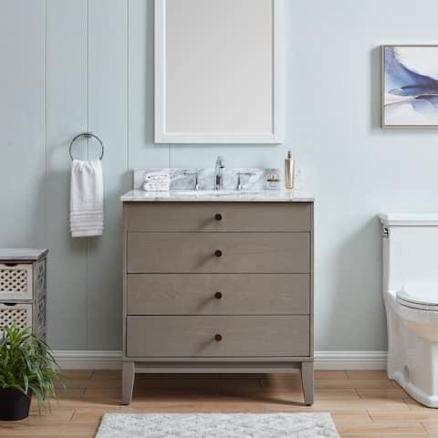 The Gray Barn Livingston Modern Farmhouse Gray Stone 32-inch Vanity Sink