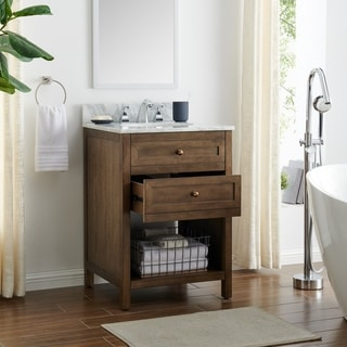 The Gray Barn Pennington Modern Farmhouse Brown Stone 24-Inch Bath Vanity