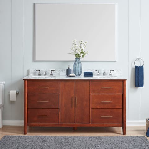 Strick & Bolton Harold Transitional Brown Stone 63-inch Bath Vanity Sink