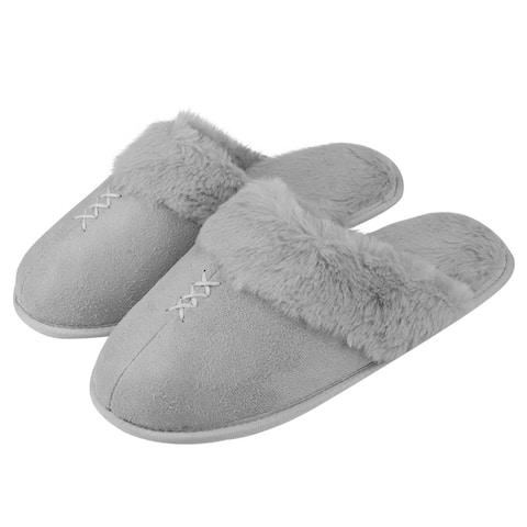 Furry Fur Slippers Flip Flop Close Toe Memory Foam Cozy House Sandals Slides
