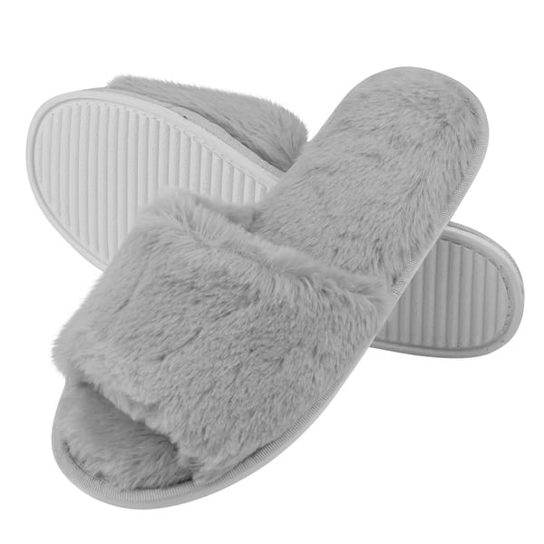Women/'s Fuzzy Faux Fur Slipper with Memory Foam with Memory Foam Slides for Indo