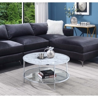 Silver Orchid Gold Coast Carrara Round Coffee Table