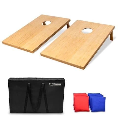 GoSports 3' x 2' Bamboo Cornhole Set with 8 Bean Bags & Carrying Case - 3' x 2'