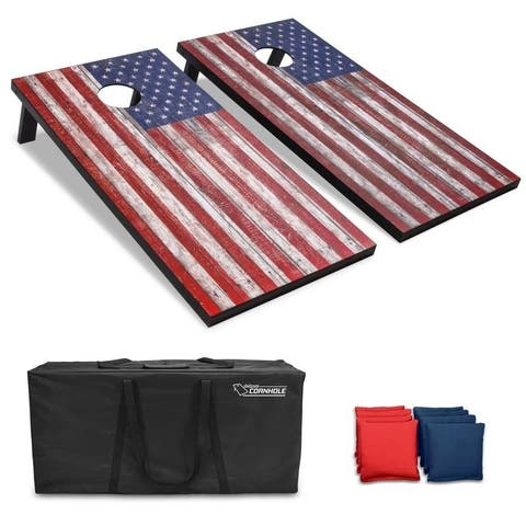 GoSports American Flag Regulation Size 4'x2' Cornhole Set Includes 8 Bags, Carry Case & Rules