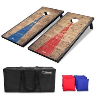 GoSports 4'x2' Classic Cornhole Set with Rustic Wood Finish Includes 8 Bags, Carry Case and Rules