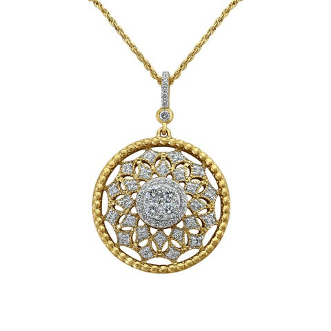 14k Yellow Gold 5/8ct. TDW Diamond Cluster Medallion Necklace by Beverly Hills Charm
