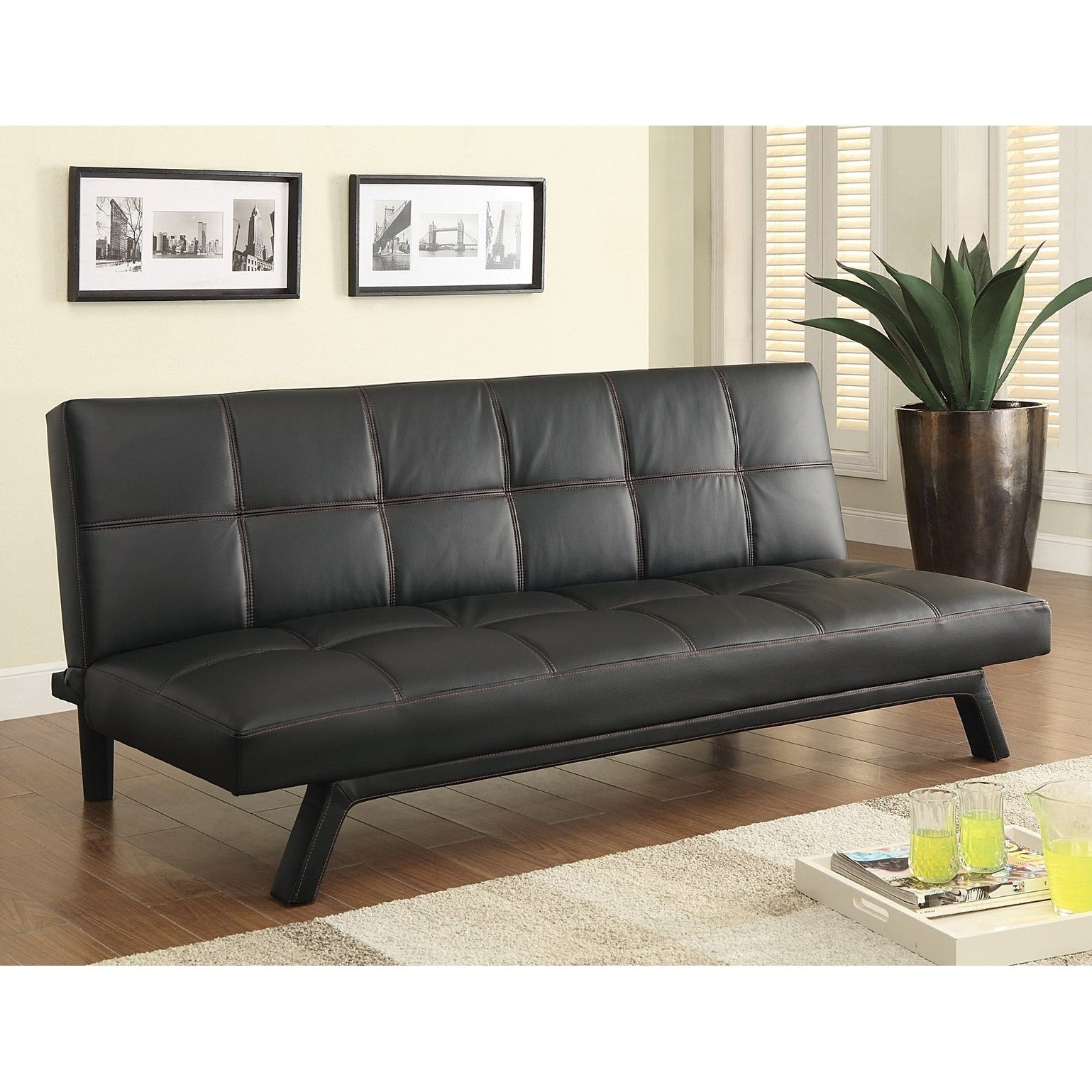 Calera Black Faux Leather with Contrast Stitching Futon Sleeper Sofa