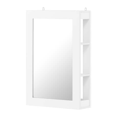 Furinno Figdor Wall Mounted Mirror with Shelf, White