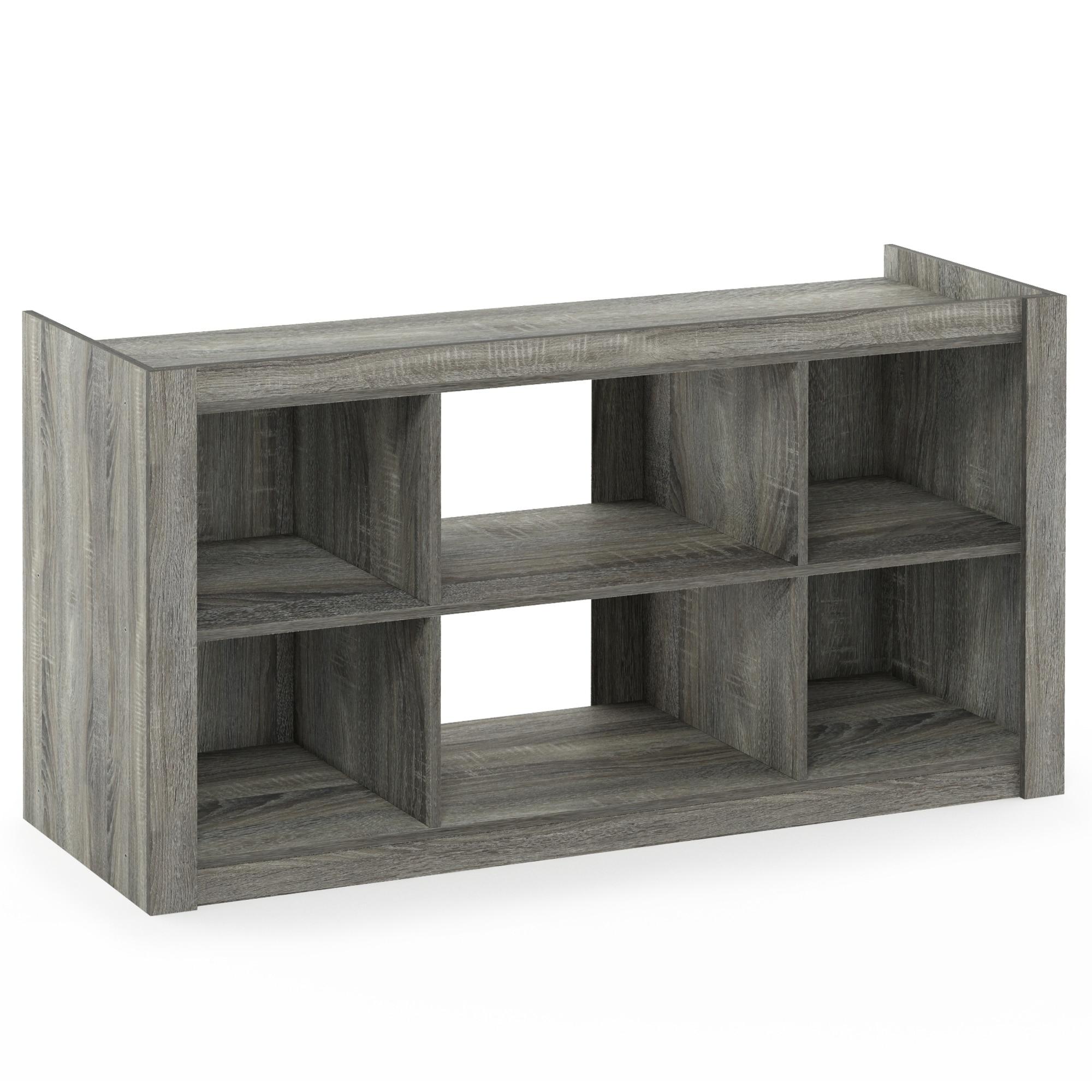 Furinno Fowler Multipurpose Tv Stand Bookshelves French Oak Grey