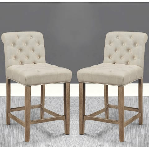 Elegant Button Tufted Rolled Back Design Counter Height Stools (Set of 2)