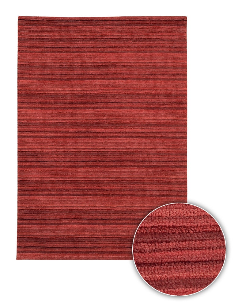 Handmade Contemporary Red Striped Alba Rug (8' x 11')