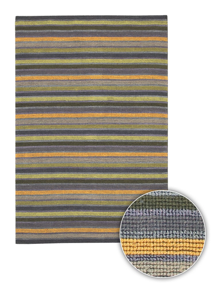 Artist's Loom Hand-woven Contemporary Stripes Rug - 8' x 11'