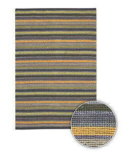 Artist's Loom Hand-woven Contemporary Stripes Rug (7'9 x 10'6) - Thumbnail 0