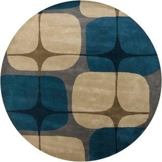 Hand-tufted Mandara Contemporary Geometric Wool Rug (8' Round)