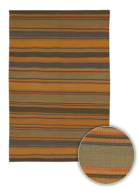 Artist's Loom Handmade Flatweave Casual Stripes Natural Eco-friendly Jute Rug (7'9x10'6)