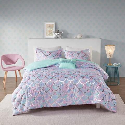 Mi Zone Phoebe Aqua/Purple Metallic Printed Reversible Comforter Set