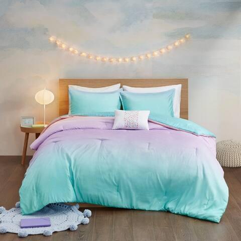 Mi Zone Sparkle Aqua Metallic Glitter Printed Reversible Comforter Set