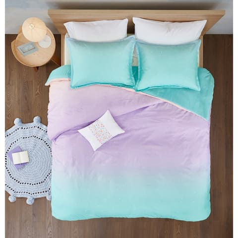 Mi Zone Sparkle Aqua Metallic Glitter Printed Reversible Duvet Cover Set