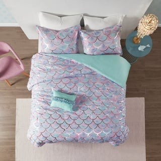 Mi Zone Phoebe Aqua/Purple Metallic Printed Reversible Duvet Cover Set