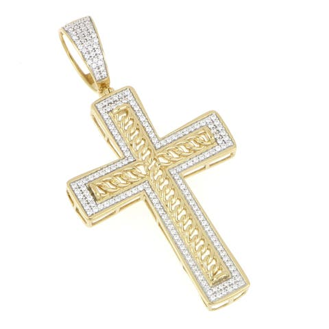 1/2ct TDW Diamond Iced Out Cross Pendant in 10k Gold