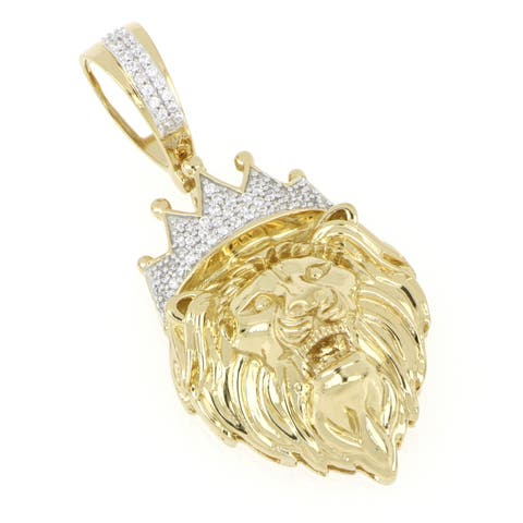 1/6ct TDW Diamond Crowned Lion Pendant in 10k Gold