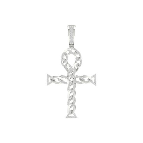 1/2ct TDW Diamond Cuban Ankh Cross Pendant in 10k Gold