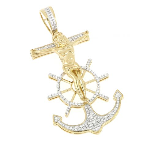 1/2ct TDW Diamond Jesus Christ Anchor Pendant in 10k Gold