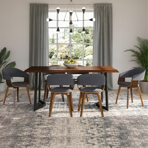 WYNDENHALL Hathaway Solid Mango Wood Dining Table with Inverted Metal Base in Dark Brown - 72 inches wide