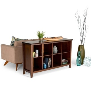 WYNDENHALL Stratford Solid Wood 57 inch Wide Contemporary 8 Cube Storage Sofa Table in Russet Brown - 57 inches wide