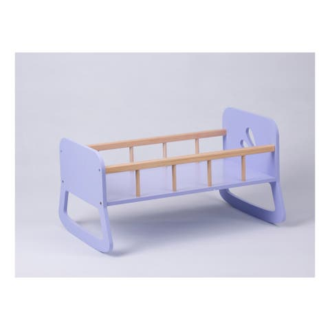 Moover Toys LINE Design Baby Doll Wooden Cradle in Purple