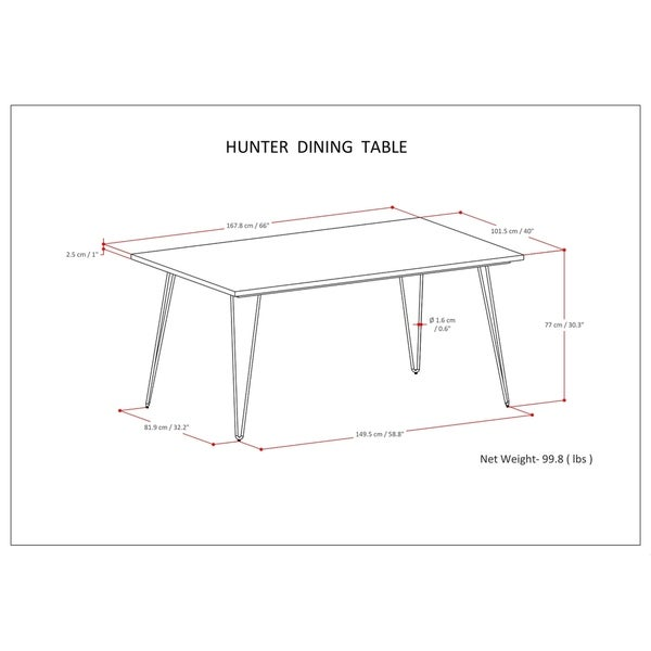 WYNDENHALL Moreno Solid Mango Wood and Metal 66 inch x 40 inch Rectangle Industrial Contemporary Dining Table in Natural