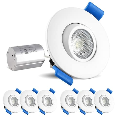 Luxrite 2 Inch Gimbal LED Recessed Light with Junction Box, 5W, 400 Lumens, Dimmable Downlight, Damp & IC Rated (6 Pack)