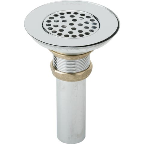 """Elkay 3-1/2"""" Drain Nickel Plated Brass Body, Strainer and Tailpiece"""