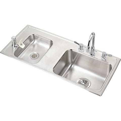 "Elkay Lustertone Classic Stainless Steel 37-1/4"" x 17"" x 5-1/2"", Double Bowl Drop-in Classroom ADA Sink Kit"
