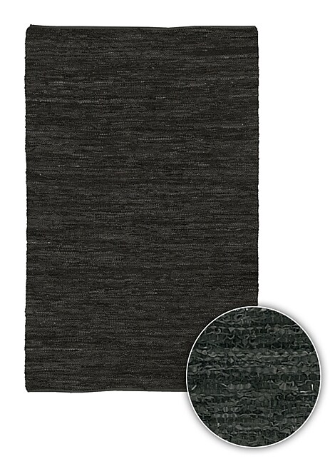 Artist's Loom Hand-woven  Casual Reversible Natural Eco-friendly Leather Rug (7'9x10'6)
