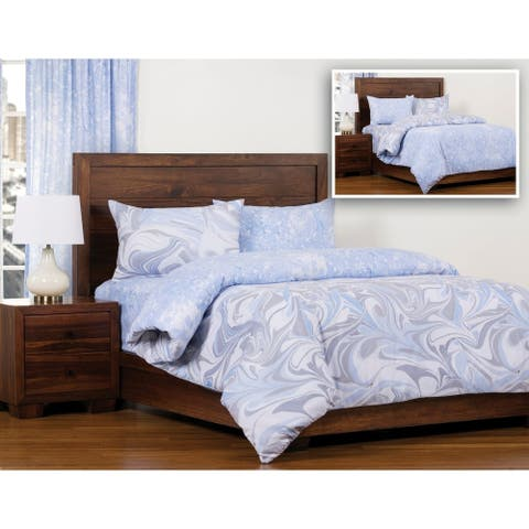 The Art of Marbling Quicksilver/ Blue Ice Reversible Luxury Duvet Cover and Insert Set