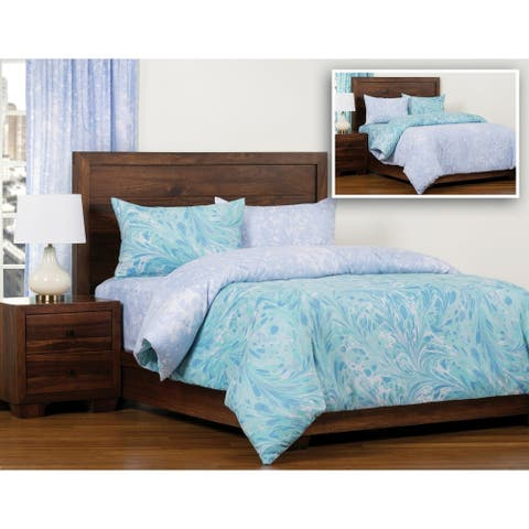 The Art of Marbling Triton/ Blue Ice Reversible Luxury Duvet Cover and Insert Set