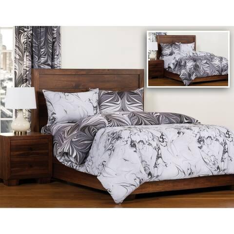 The Art of Marbling Carrara/ Black Ash Reversible Luxury Duvet Cover and Insert Set