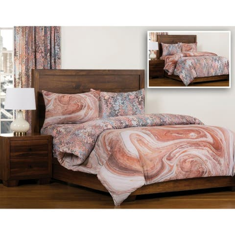 The Art of Marbling Bedrock/ Bouquet Reversible Luxury Duvet Cover and Insert Set