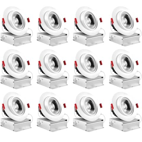 Luxrite 4 Inch LED Gimbal Recessed Light with Junction Box, 11W, 1000 Lumens, Dimmable, IC Rated, Damp Rated (12 Pack)
