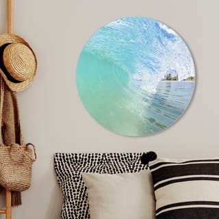 Oliver Gal 'David Fleetham - Breaking Wave Light Circle' Nautical and Coastal Round Circle Acrylic Wall Art - Green, Blue