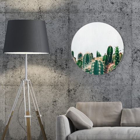 Oliver Gal 'Cactus Family Circle' Floral and Botanical Round Circle Acrylic Wall Art - Green, White