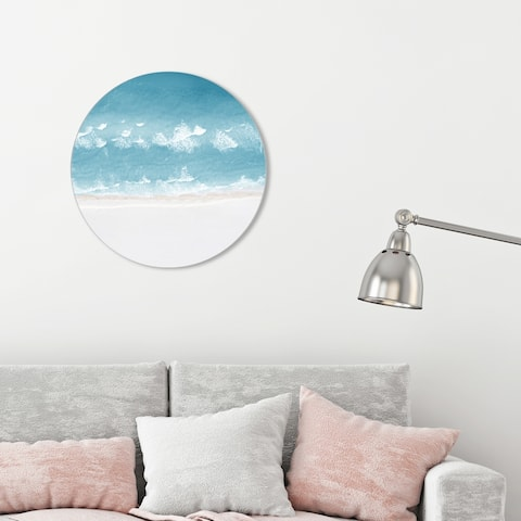 Oliver Gal 'Calm Perfect Ocean Dark' Nautical and Coastal Round Circle Acrylic Wall Art - Blue, White