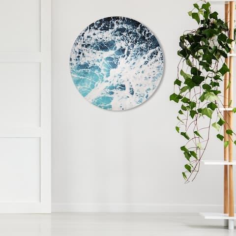 Oliver Gal 'Mykonos Water II Circle ' Nautical and Coastal Round Circle Acrylic Wall Art - Blue, White