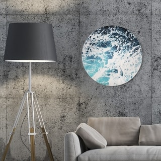 Oliver Gal 'Mykonos Water II Circle ' Nautical and Coastal Round Circle Acrylic Wall Art - Blue, White