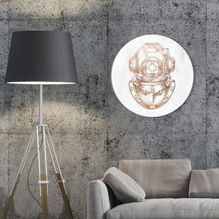 Oliver Gal 'Antique Diving Circle' Nautical and Coastal Round Circle Acrylic Wall Art - Bronze, White