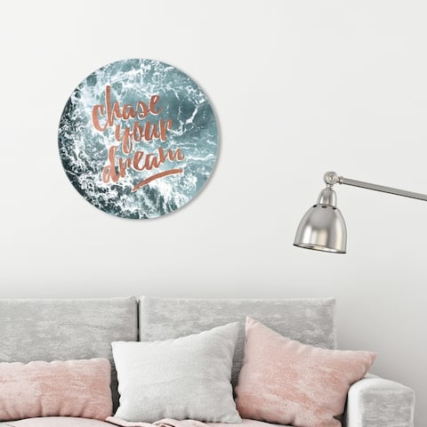 Oliver Gal 'Chase Your Dream Circle' Typography and Quotes Round Circle Acrylic Wall Art - Bronze, Gray