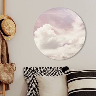 Oliver Gal 'In The Clouds I' Nature and Landscape Round Circle Acrylic Wall Art - White, Pink