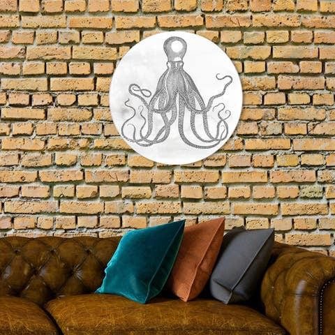 Oliver Gal 'Octopus Circle' Nautical and Coastal Round Circle Acrylic Wall Art - Gray, White